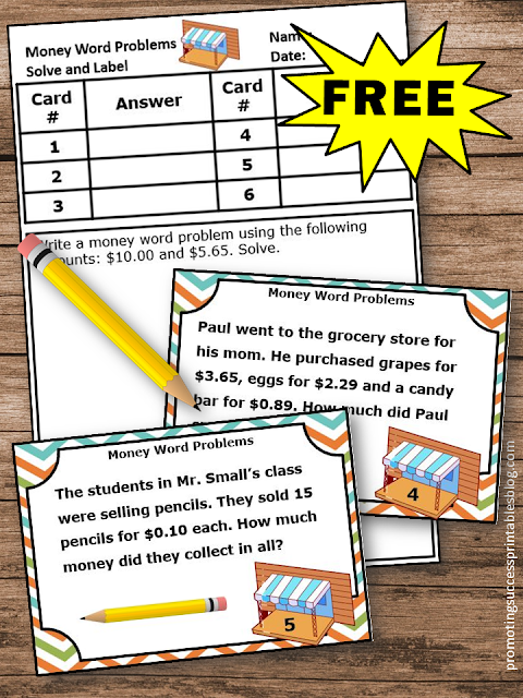 free money word problems task cards activities games