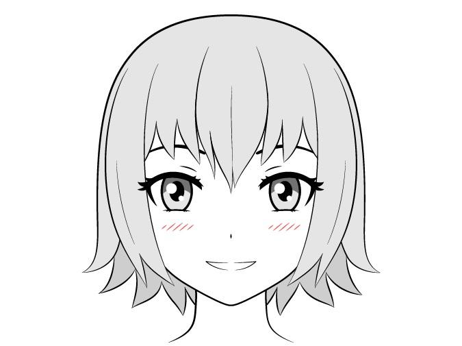 Gadis anime dengan blush on bergaris kecil
