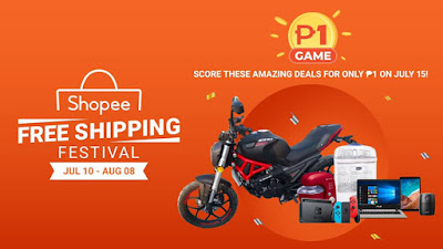 Shopee Raffles off a Motorcycle for only ₱1 for Shopee Free Shipping Festival