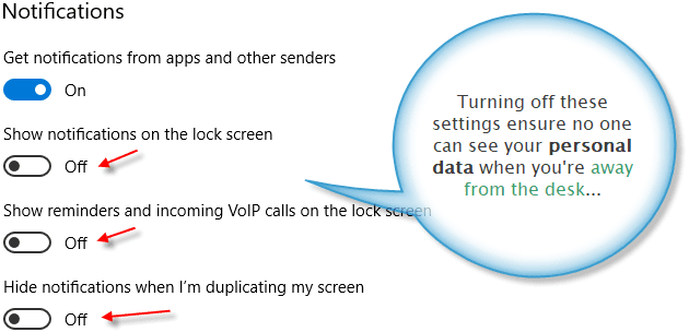 Lock screen notification settings on Windows 10