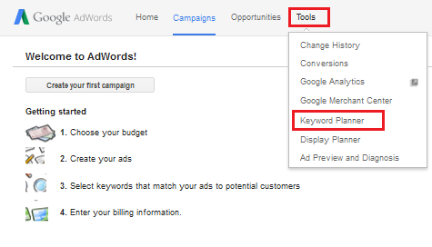 buka google keyword planner pada adwords