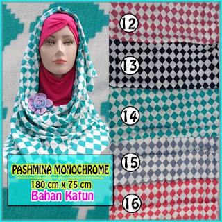 Jilbab pashmina terbaru 2016 monochrome harga termurah