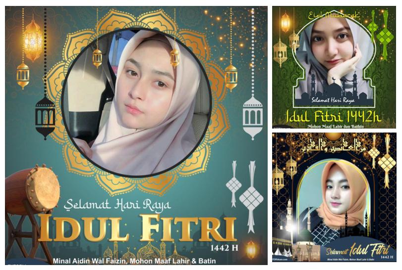 Pasang Bingkai Logo Ucapan Selamat Idul Fitri 1442 H / 2021 M Keren Di Foto Profil