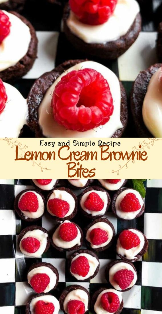Lemon Cream Brownie Bites #desserts #cakerecipe #chocolate #fingerfood #easy