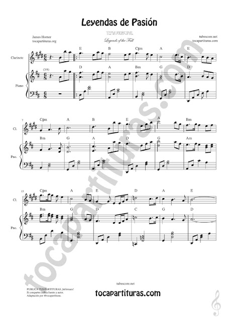 1 Leyendas de Pasión Partitura de Clarinete Legend of the Fall Clarinet Sheet Music