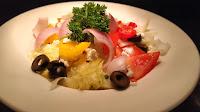 Garnished Greek salad