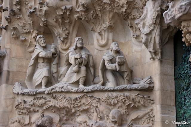 Il dettaglio della facciata della natività della Sagrada Familia
