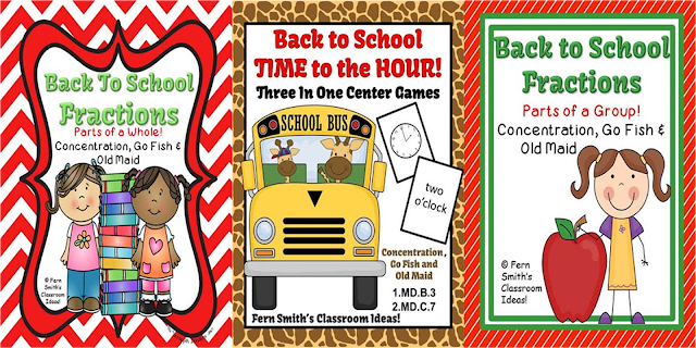 Fern Smith's Classroom Ideas, Time to the Hour for Back to School, Back to School Parts of a Whole Fractions Center Games, Back to School Parts of a Group Fractions Center Games all available at TpT.