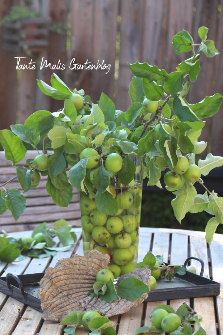 Sommerdeko aus Obstbaumschnitt