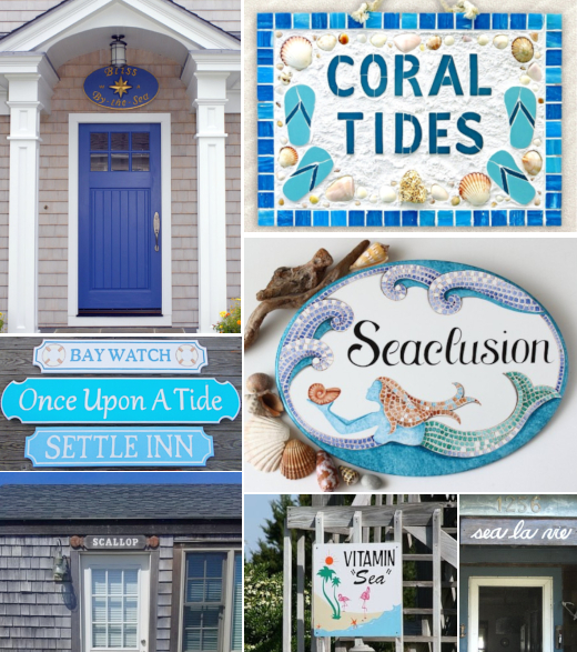 Coastal Beach Nautical House Name Plaque Signs
