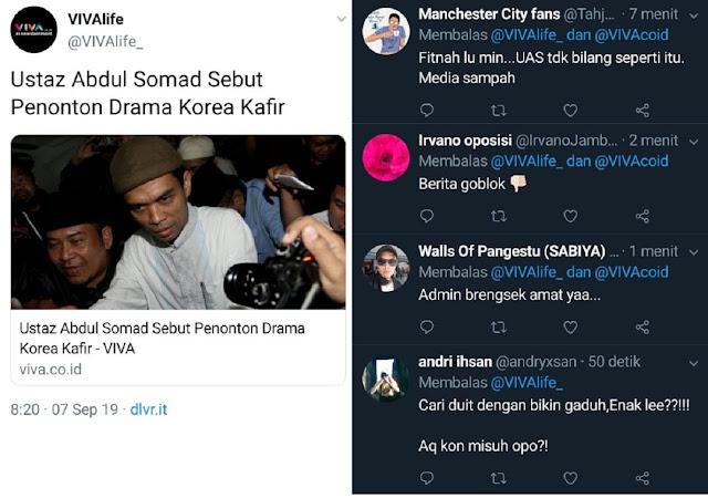 "Berita ""Ustaz Abdul Somad Sebut Penonton Drama Korea Kafir"", VIVA Dihujat Netizen Karena Fitnah UAS"