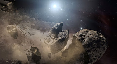 This artist's concept shows a broken-up asteroid. Image: Courtesy NASA/JPL-Caltech