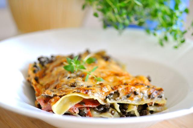 lasagne med linser og bacon