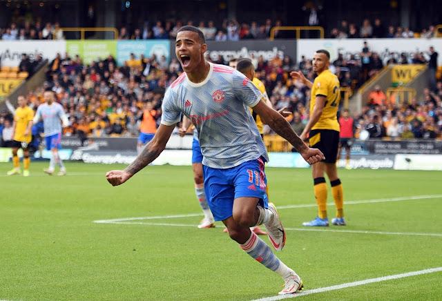 Mason Greenwood celebrates winning goal for Man united at Wolves