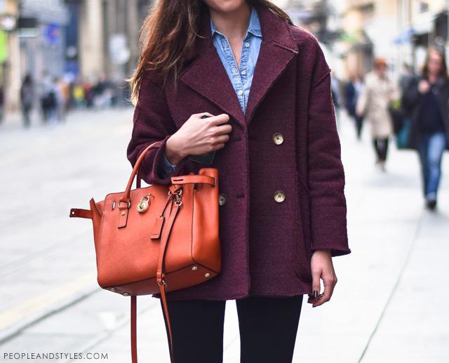 Ivana Jerković latest street winter 2014 fashion, how to wear a denim shirt in winter