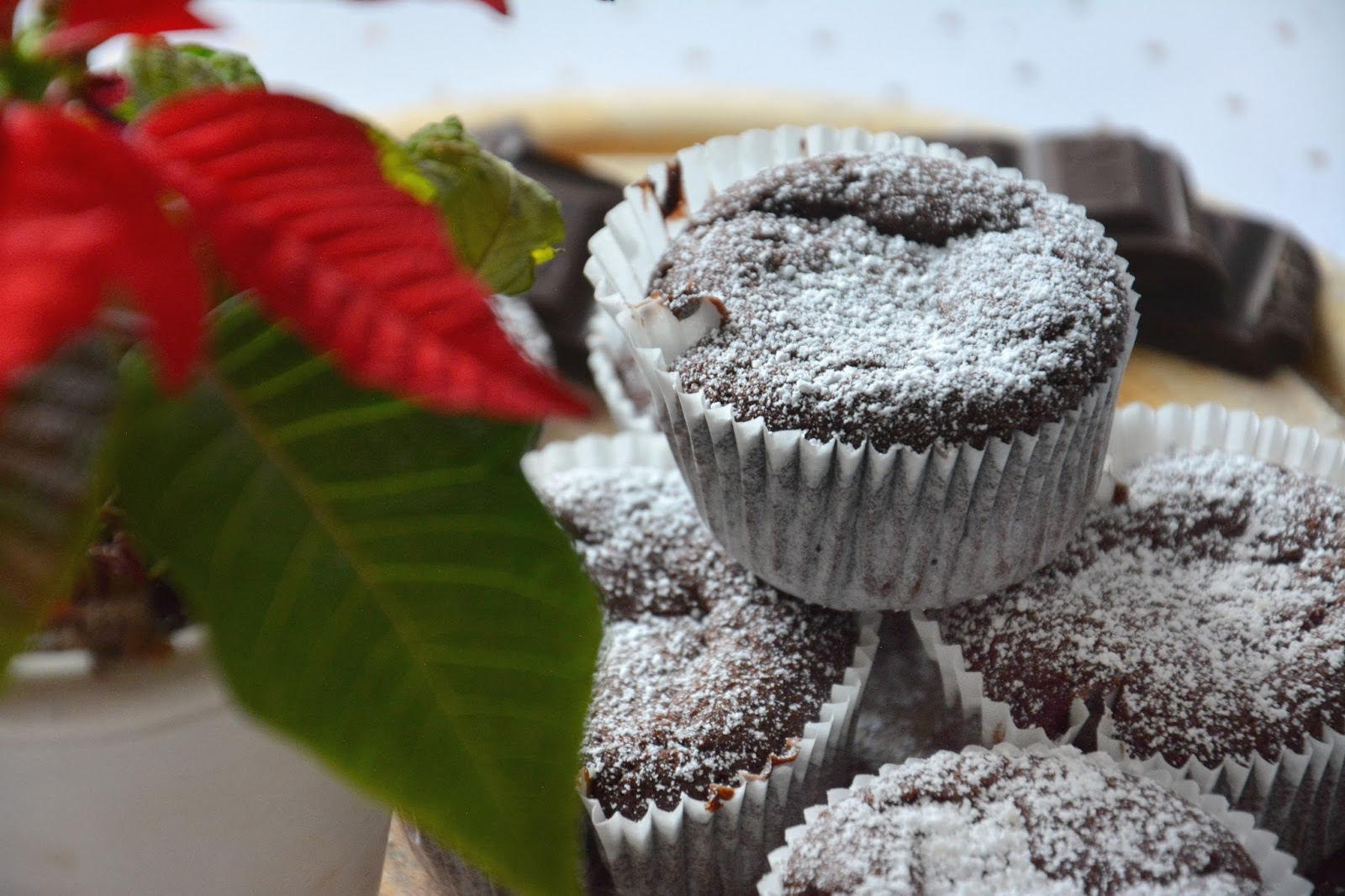 Vegan Chocolate Muffins With Hazelnut Cream Filling on Wood Platter; Christmas Star; Dark Chocolate