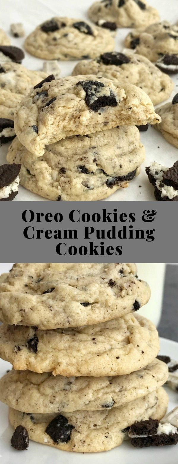 Oreo Cookies & Cream Pudding Cookies #cookies #dessert