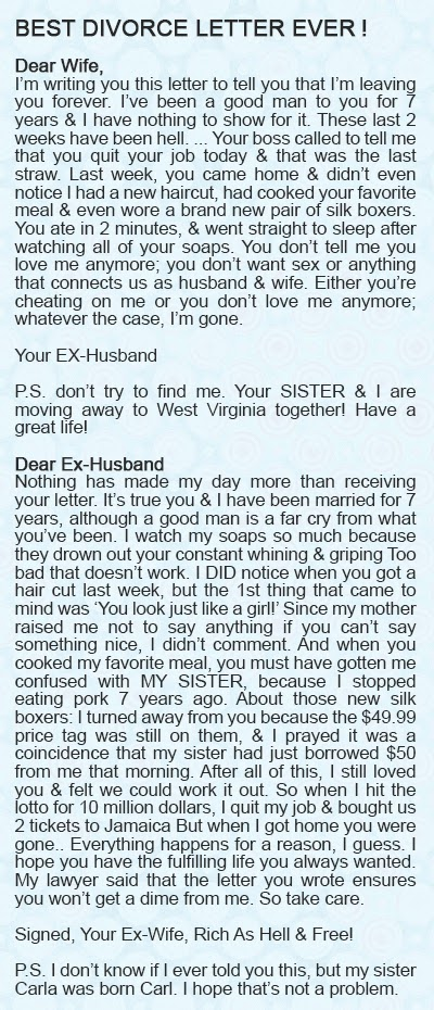 ... Videos: Without a DOUBT – The BEST Divorce letter I have EVER read