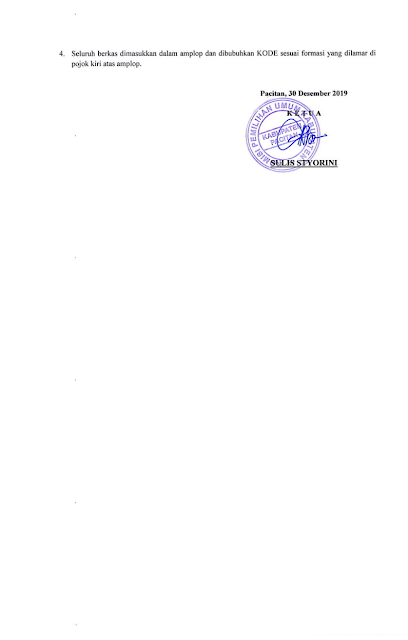 Rekrutmen Tenaga Pendukung Tahapan Pemilihan Bupati dan Wakil Bupati Pacitan Tahun 2020