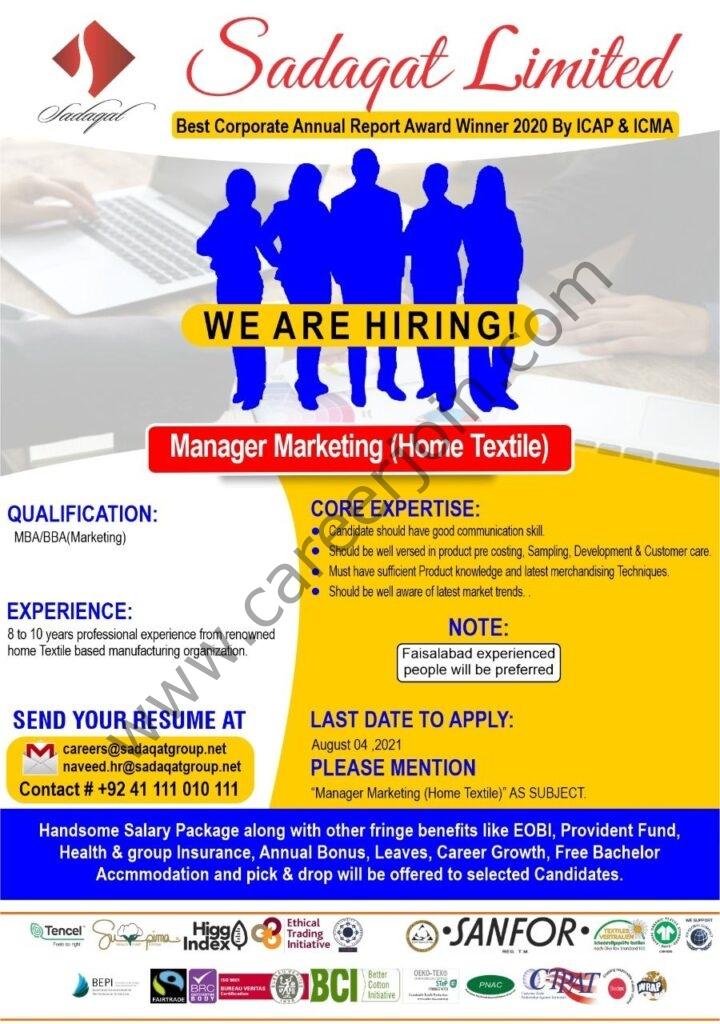 Sadaqat Ltd Jobs August 2021