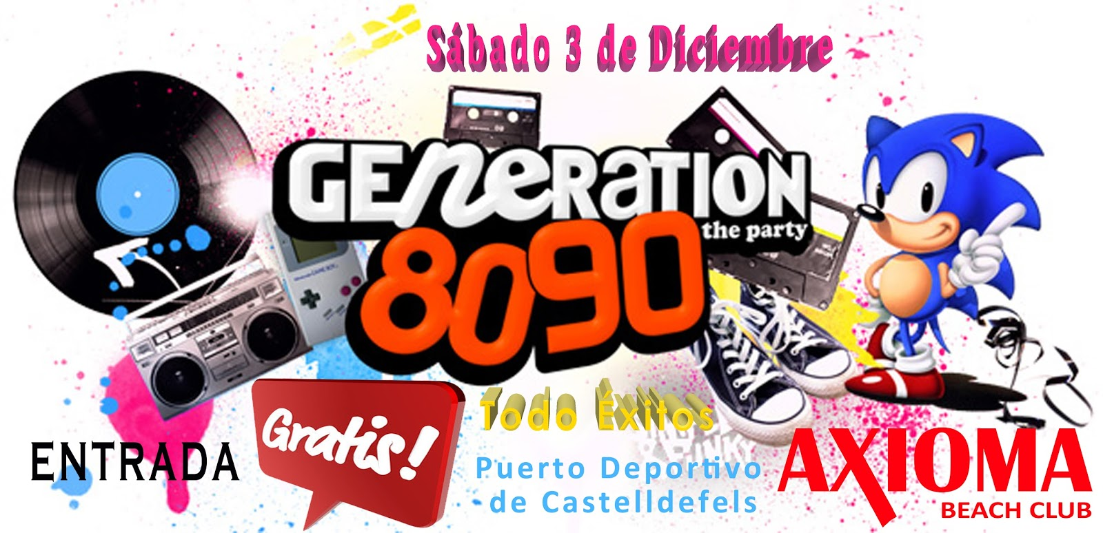 Flyer Fiesta Generación 80 90 y Todo Éxitos