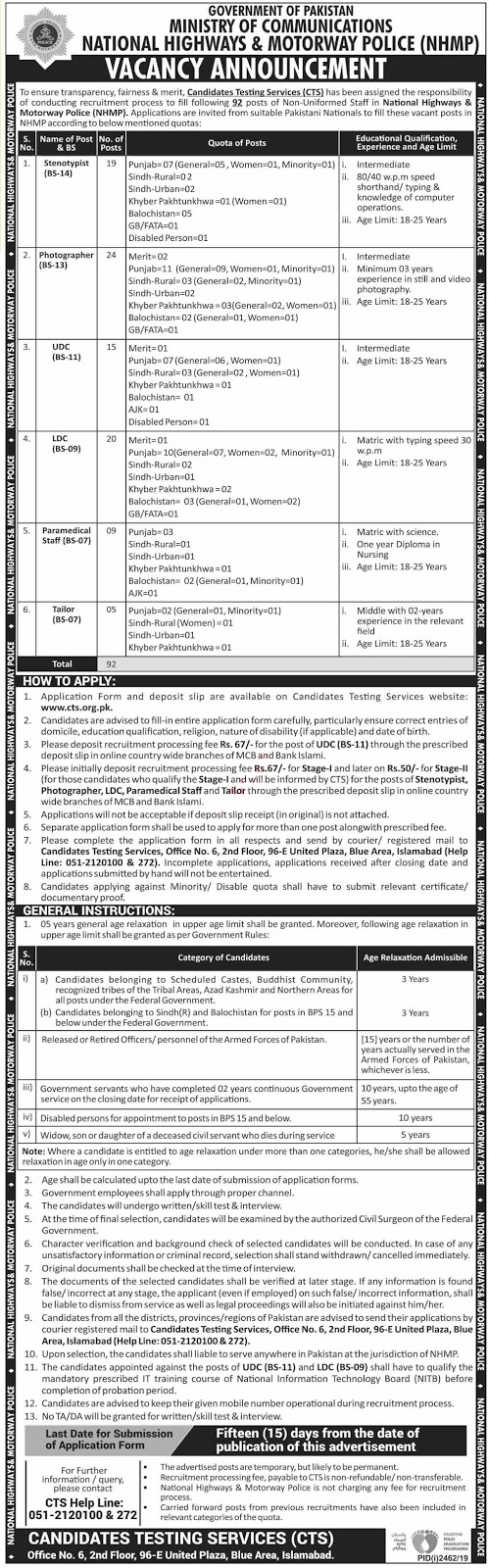 Ministry of Communications Clerical Staff Jobs 2019 Via CTS Testing Service