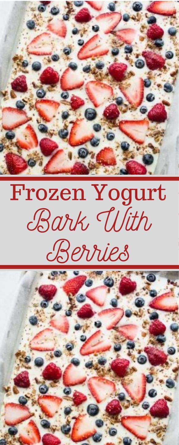 Frozen Yogurt Bark with Berries #desserts #yummy #yogurt #cakes #pie