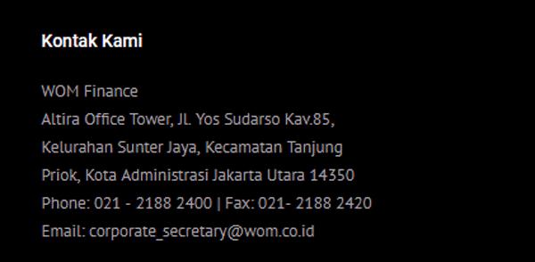 halaman kontak wom finance serta alamat kantor pusat