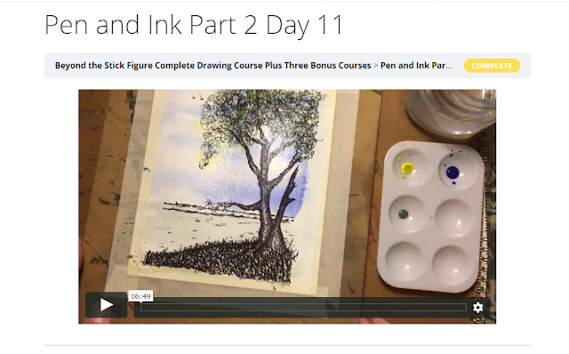 watercolor still frame of online lesson