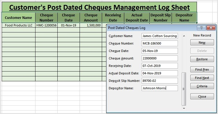 How to Maintain Data Log Sheet Using Microsoft Excel Form