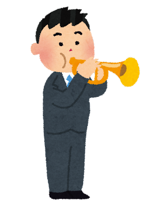 トランペットを吹く男性のイラスト(オーケストラ)