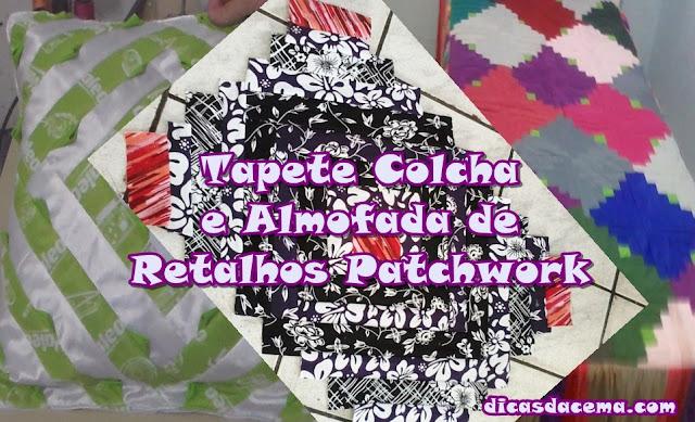 Artesanatos-Tapete-Colcha-e-Almofada-de-Retalhos-Patchwork