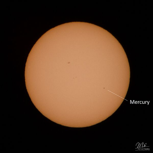 Mercury passing in front of Sun.