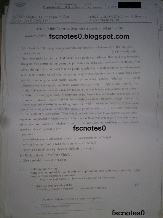 BS (Hons) Chemistry Past Papers Semester 1 English I (Language in Use) fscnotes0 Asad Hussain 1
