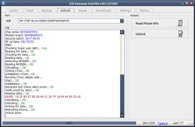 Galaxy J7 pro SM-J730F Unlock Done+Root file By Z3X Box