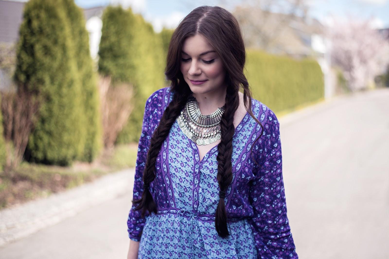 Easy Festival Hairstyle | Two Fishtail Braids | Arnhem Florence Dress in Opal | Rose Kiara Peaches