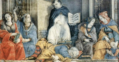 "Foto: ""Triumful Sf. Thomas Aquinas asupra ereticilor"" de Filippino Lippi - imagine preluată de pe Wikimedia Commons"