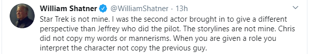 William Shatner twitta sul proprietario dei personaggi di Star Trek