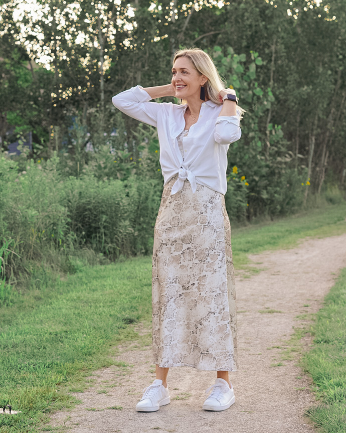 easy slip dress outfit idea