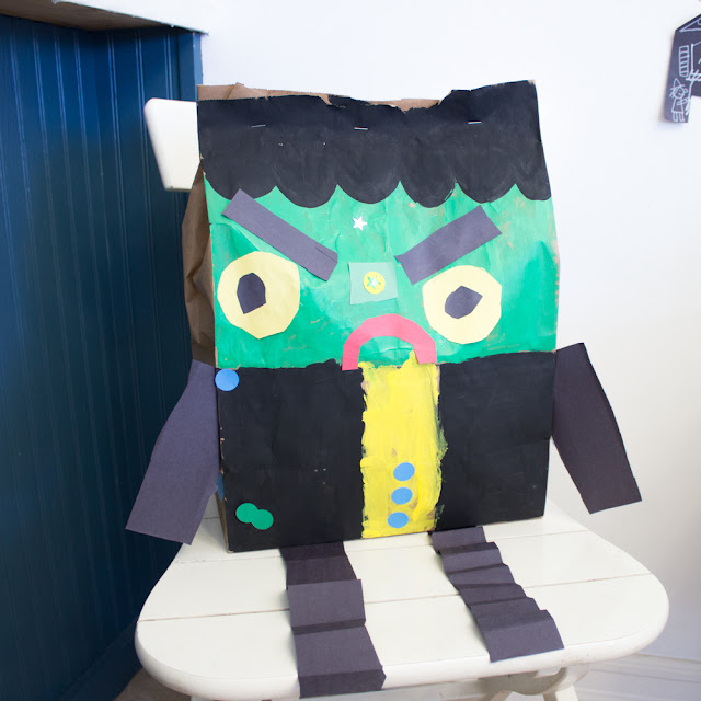 How to make a paper bag Frankenstein Halloween Preschool Craft