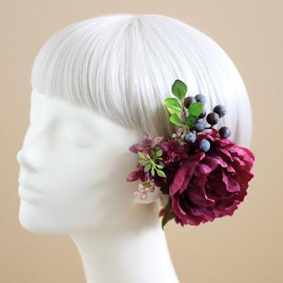 芍薬の髪飾り(アンティークレッド)-ウェディングヘッドドレス&花髪飾りairaka