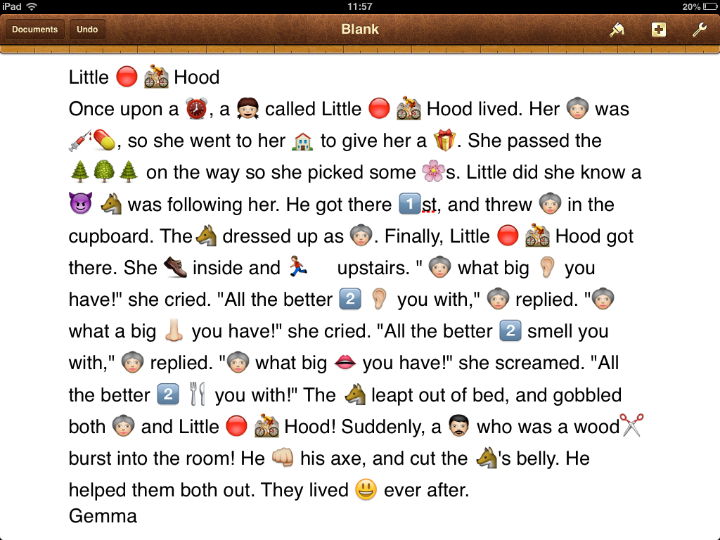 write a story with emojis images