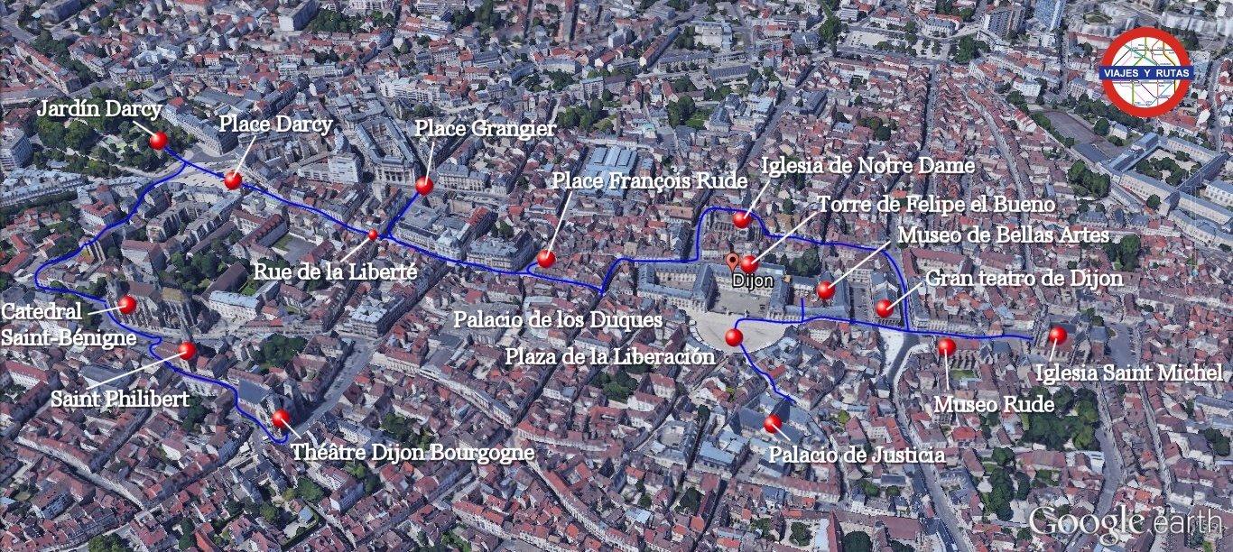 Mapa con los lugares que ver en Dijon