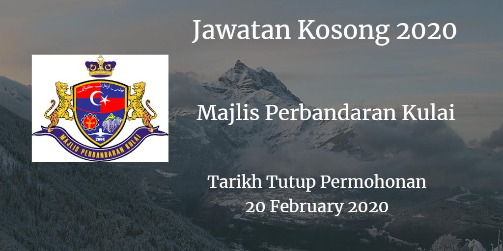 Jawatan Kosong MPKulai 20 February 2020
