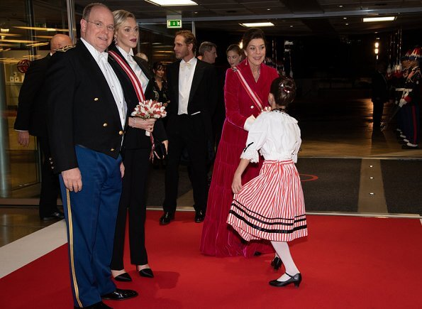 Prince Albert II, Princess Charlene, Princess Caroline and Beatrice Borromeo Casiraghi at the gala evening