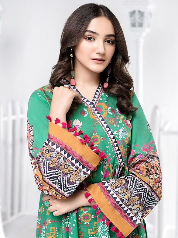 Limelight Lawn shirt Green color