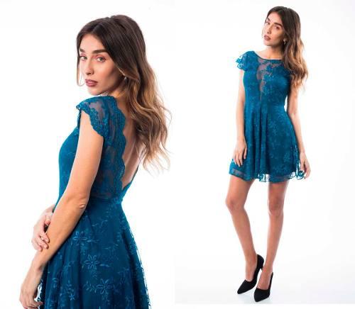 Vestido Fiesta Azul Espalda Abierta Bordado Escote Manguita