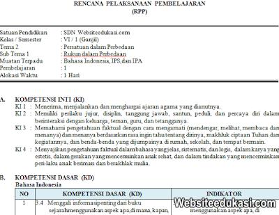 RPP Kelas 6 Tema 2 Kurikulum 2013 Revisi 2019