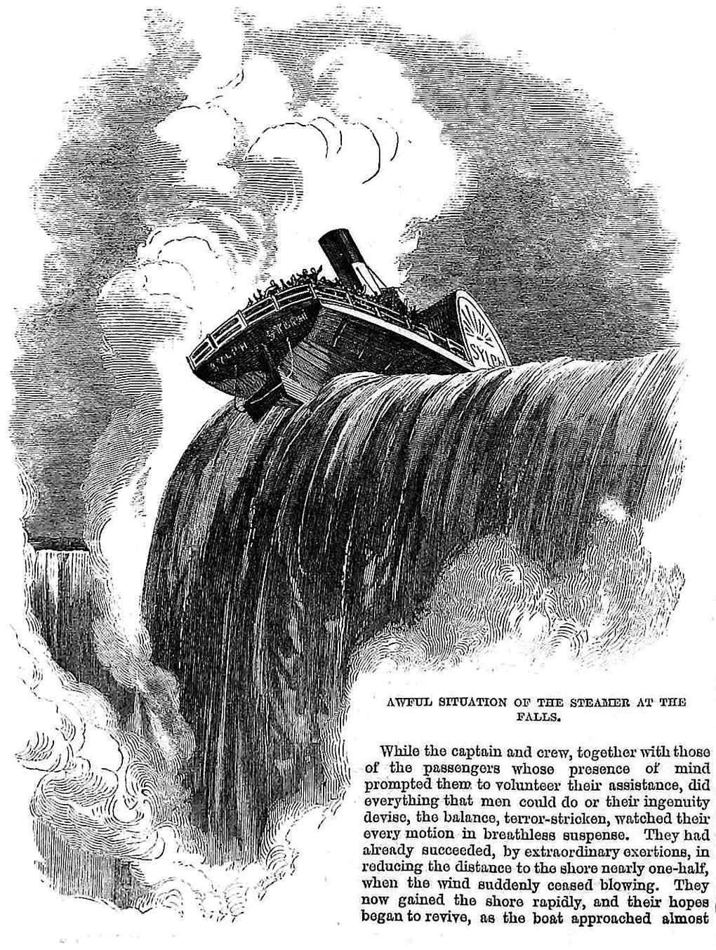 1864 Niagara Falls disaster incident, steamer at the edge of the falls