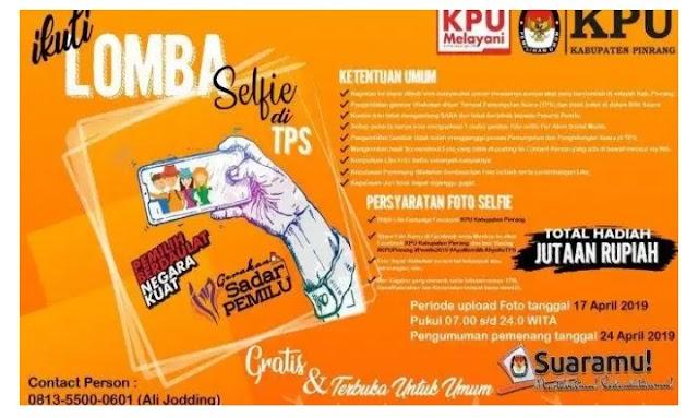 Ini Nama Nama Pemenang Lomba Foto Selfi TPS KPU Pinrang,?